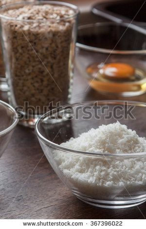 Ingredients for a crunchy oatmeal cookies with coconut.