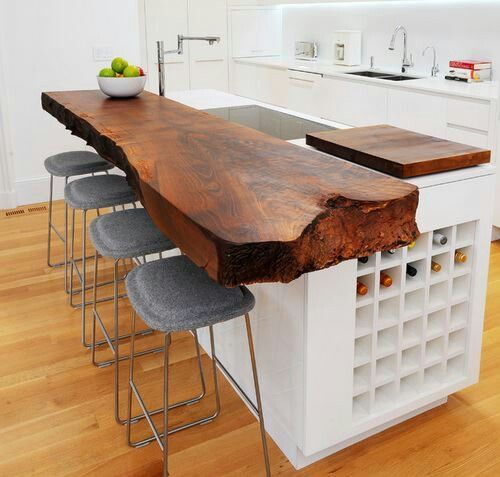 Love cedar bar table, stone stools and side wine rack