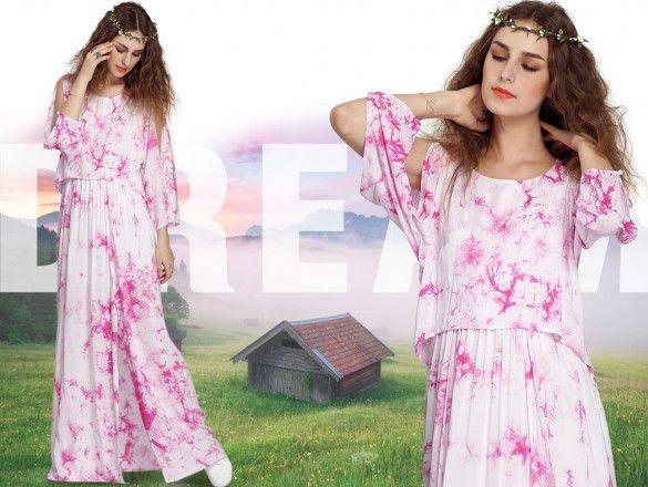 FINEJO Fashion Women Casual Floral Fake 2 Piece Boho Summer Beach Long Dress