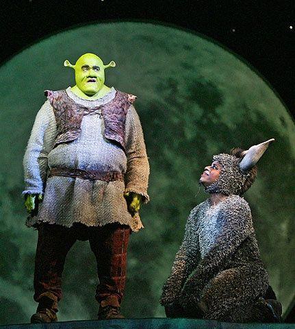 Photo 1 of 7   Brian d'Arcy James as Shrek and Daniel Breaker as Donkey in Shrek.   Shrek the Musical: Show Photos   Broadway.com