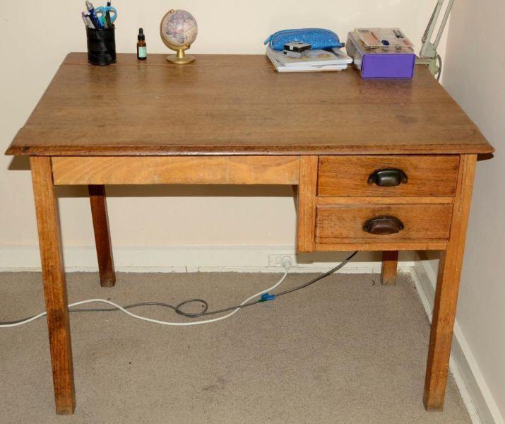 Vintage antique wooden timber desk 1940s plank top hardwood   Desks   Gumtree Australia Stonnington Area - Toorak   1044494955