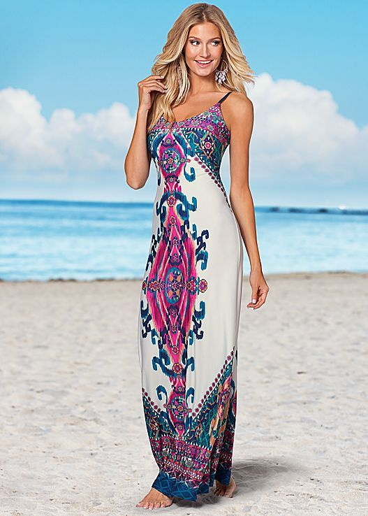 Pink Multi Print maxi dress from VENUS. Available in sizes XS-XL!