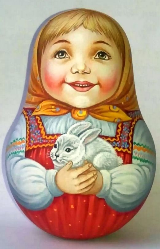 Russian matryoshka-tumbler girl with rabbit handmade exclusive  #HANDMADE