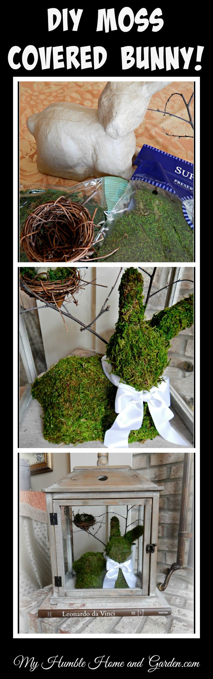 DIY Moss Covered Bunny on My Humble Home and Garden.com