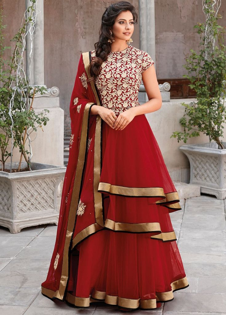 Preet Red Layered Anarkali