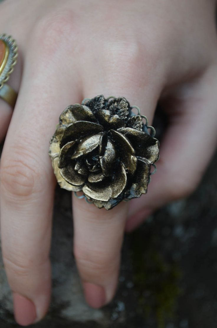 Flower Ring | Artisan Jewelry | Handmade | Vintage Cameo Ring |Adjustable Rose Jewellery | Upcycled by GhostandLolaBoutique on Etsy