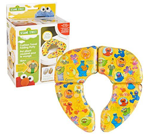 Ginsey Sesame Street Framed Friends Cushioned Folding Travel Potty Seat  PATENTED LOCKING HINGES: Provide extra stability yet easily fold and unfold when not in use  NON-SLIP: Non-Slip rubber padding on the bottom prevents sliding & avoids unwanted toilet scratches  COMFORTABLE: Thick cushioned material offers premier comfort without sacrificing stability  PORTABLE: Includes travel bag for discreet & easy transport  Featuring your favorite Sesame Street characters