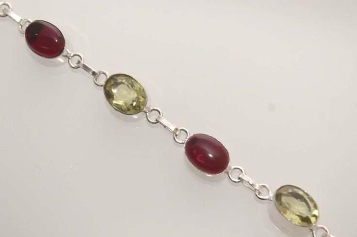 RED ONYX YELLOW QUARTZ NEW VALENTINES GIFT IDEAS 925 STERLING SILVER BRACELET  #925silverpalace