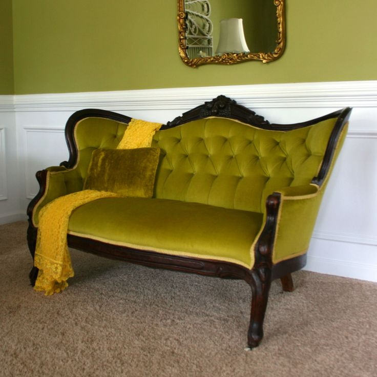 Elegant Antique Victorian Sofa Settee Moss Avocado Green By RhapsodyAttic, Nice Design