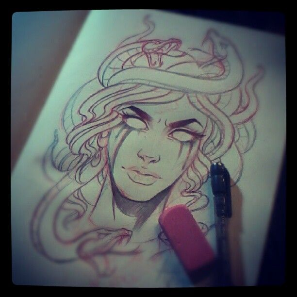 Doodlin a Medusa tattoo for the homie Wade. Can't remember how to draw snakes though waah #AVA  (Taken with Instagram at Artful Dodger...