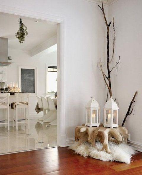 Minimalistické biele vianočné dekorácie   Living Styles