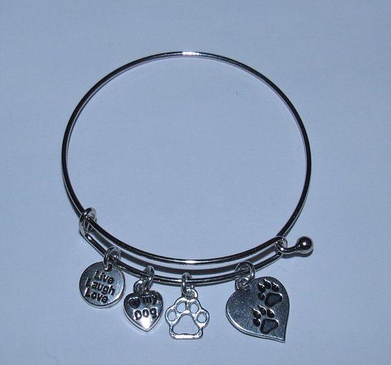 Love my Dog Bangle Bracelet by PawInspiredCreations on Etsy