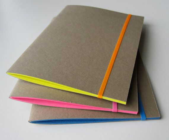 3 Kraft Paper Notebooks in Yellow Pink and Periwinkle Blue
