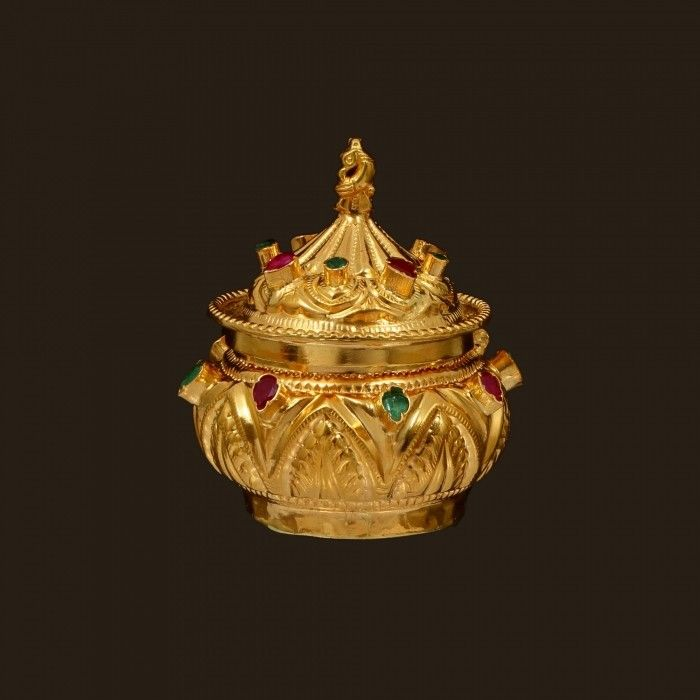 Gold Kumkum Box with Ruby And Emerald (VBJ-OW-GA-28) | Vummidi Bangaru Jewellers