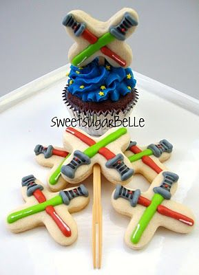 Star Wars Cupcake Toppers or Cookies by Themselves. These are super cute! And they look relatively simple.