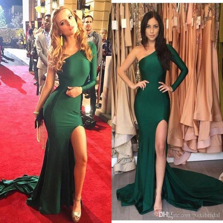 Vestido Para Noite Cheap Verde Esmeralda Sexy Split Evening Dresses 2017 Mermaid Satin Um Ombro Prom Dresses Partido Longo Celebrity Vestidos Vestidos Para Casamento À Noite De Xixibridal, $93.17 | Pt.Dhgate.Com