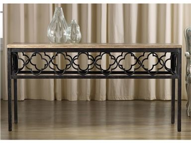 Pine veneers and an artistic metal pattern make an eclectic pair in the Cassara Console.