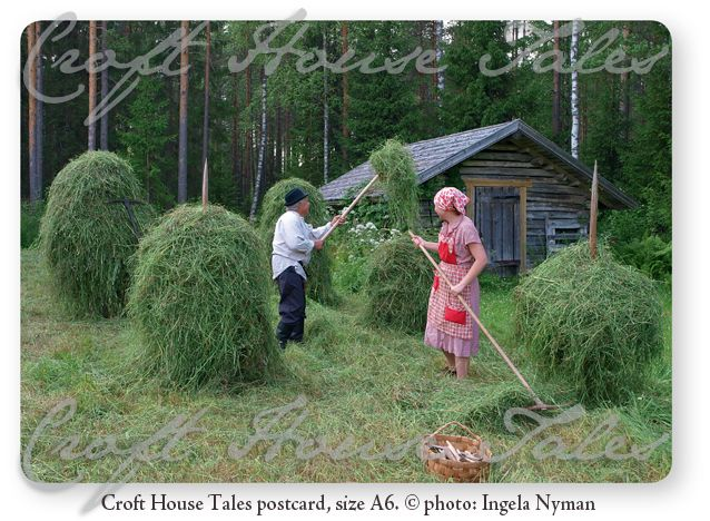 www.paperisilppuri.fi Hay making @ Finnish Countryside (old times) - Croft House Tales Postcard