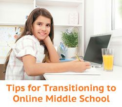 """Help Your Online Student Make a Successful Middle School Transition"" from Connections Academy online school. Pin to Prepare—Create a Pinboard of ""Cool Tools for Online School"" for a Chance to Win! #onlinelearning #middleschool #preteens"