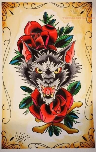 Image result for old school wolf tattoo