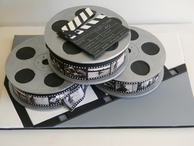 Movie reel cake for a hollywood theme birthday party. Saw ...