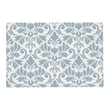 Flourish Damask Lg 2Way Pattern Blue & Cream Placemat - kitchen gifts diy ideas decor special unique individual customized