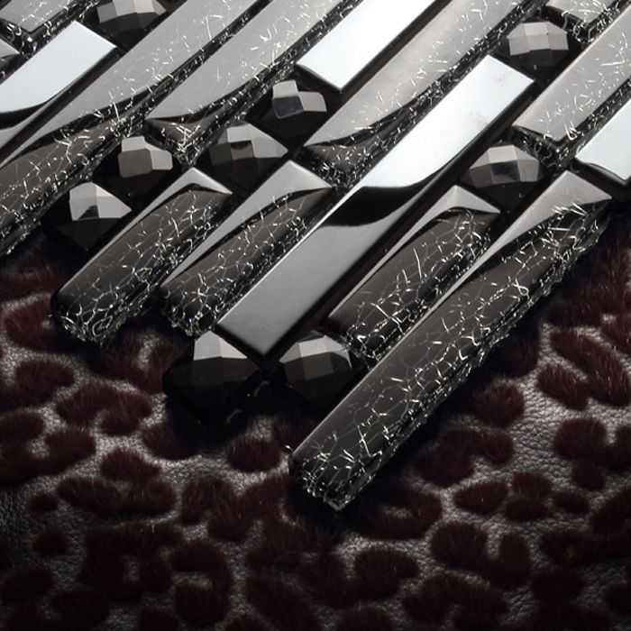 """Barato Preto de diamante de cristal de metal em aço inoxidável EHM1051 telhas de mosaico de vidro para cozinha backsplash telha da parede do chuveiro do banheiro tampa, Compro Qualidade   diretamente de fornecedores da China: especificações:Material:vidroOriginal:ChinaTamanho da telha:8mm de espessuraTamanho da folha:12x12 """" (300x300mm) co"""