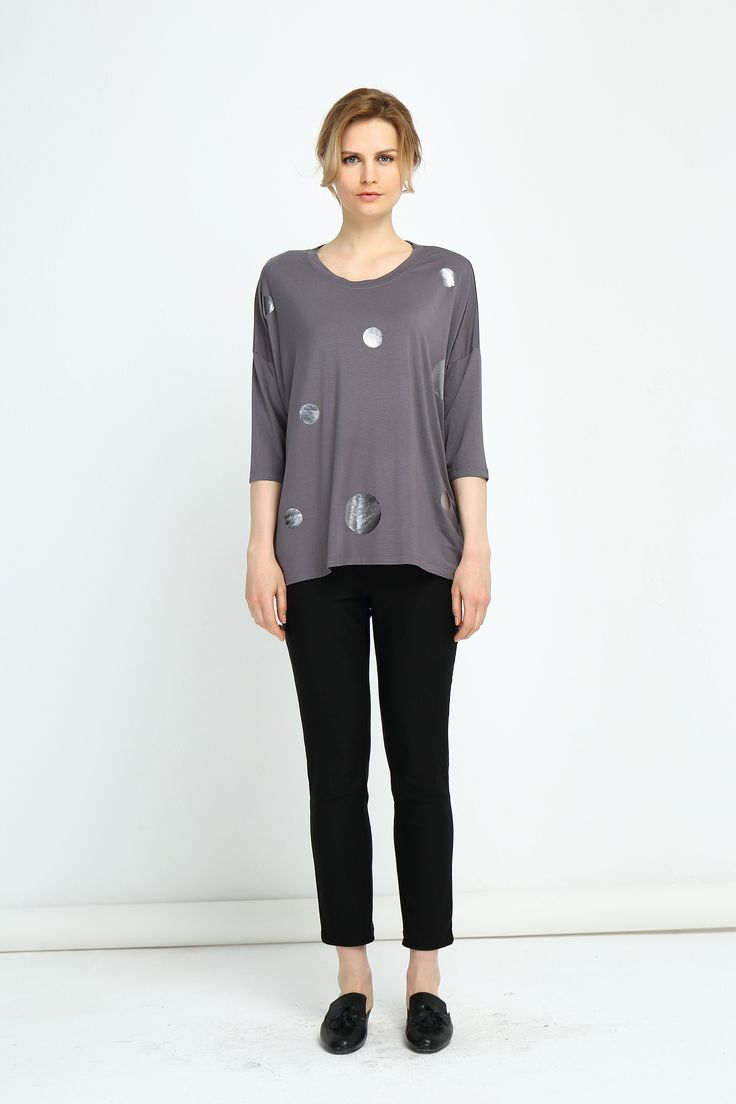 Tirelli - 17A753 - Foil Print Top 3/4 Sleeve (More Colours Available)