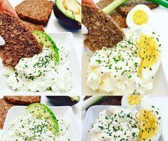 Avokádovo - cesnaková pomazánka a vajíčková s jarnou cibuľkou.