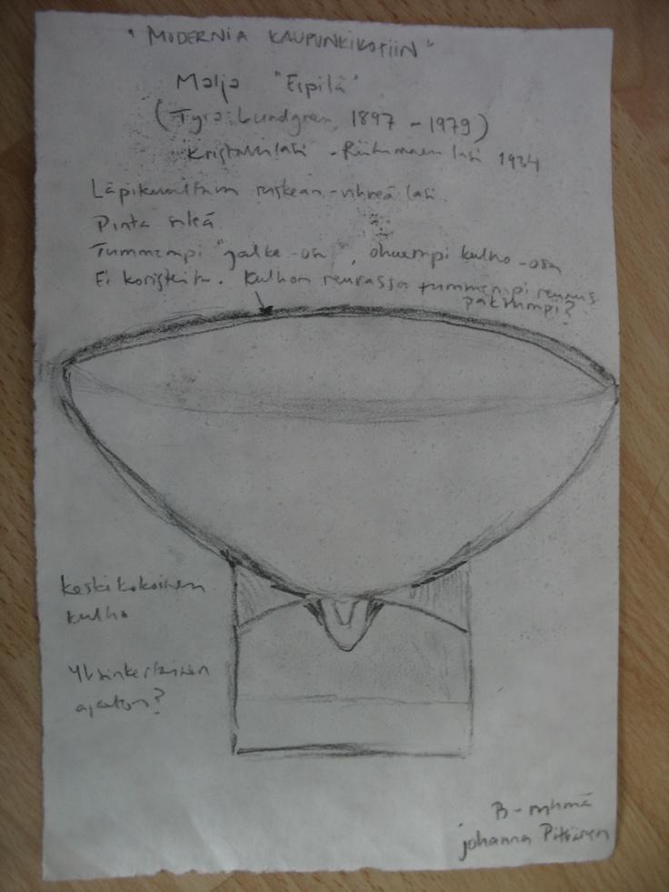 """Tyra Lundgren  Malja, """"Espilä"""" kristallilasi, Riihimäen lasi 1934"""