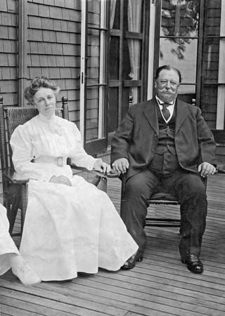 William Howard Taft and First Lady Helen Herron Taft at the family cottage in Beverly, Mass.