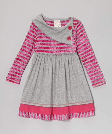 Take a look at this Fuchsia & Gray Stripe Button Collar Dress - Toddler & Girls by Me & Ko on #zulily today!
