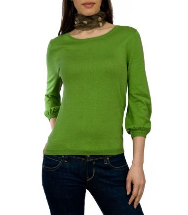 Wool Overs Womens Blouse Sleeved Jumper Pea Green
