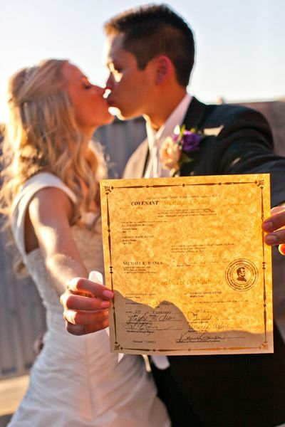 ALWAYS get a pic with your Marriage License...RIGHT AFTER your ceremony before you start family portraits...