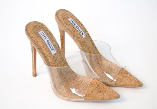 42242015c09 Details about Cape Robbin MELROSE CORK Clear Transparent Mule Pointy ...