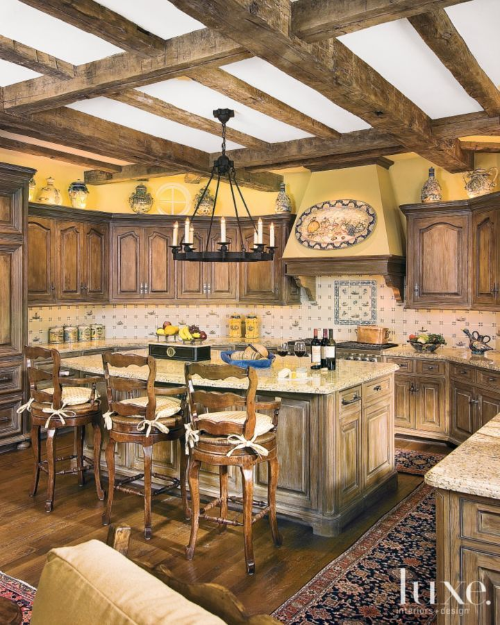 Traditional Yellow Kitchen With Warm Rustic Palette