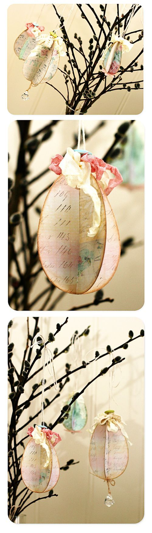 #DIY paper eggs and hang them on branches, nice center piece  For handmade greeting cards visit me at My Personal blog: http://stampingwithbibiana.blogspot.com/