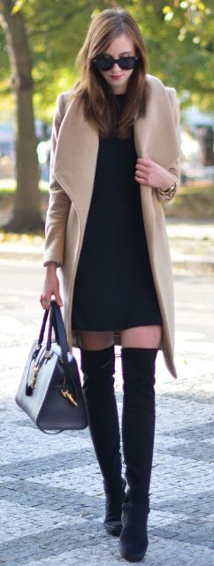 Fall look | Black dress, camel wrap coat and over the knee boots