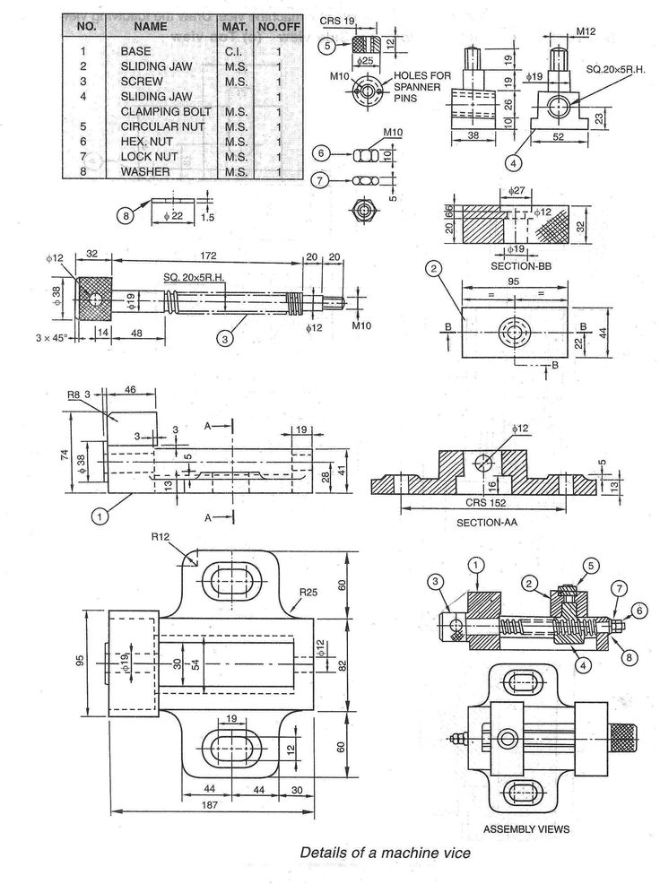 Part And Assembly Drawing Of Bench Vice