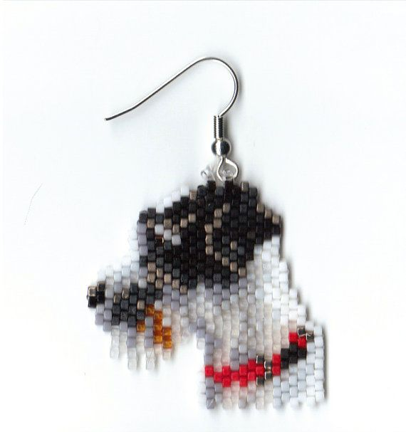 a sweet little pair of hand beaded Jack Russell dog by jjsims43