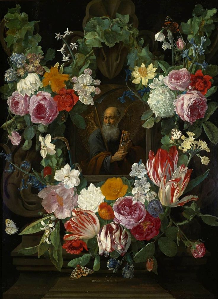 Personification of Time in a flower garland by Carstian Luyckx, 1650 (PD-art/old), Muzeum Narodowe w Warszawie (MNW)