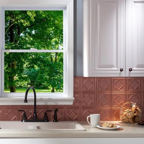 4 18 x 24 vinyl tile backsplash in argent copper rckwandplattenvinyl fliesenlackverkleidungfranzsische landhauskchenideen fr die kche - Stein Backsplash Ideen Fr Die Kche