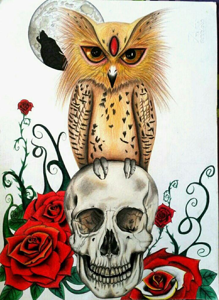 Moonlight  #drawingpencils #owl #skull #roses #redroses #dead #wolf #moonlight