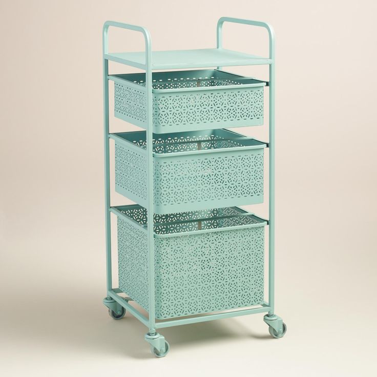 Pictures In Gallery Aqua Blue Metal Drawer Mia Rolling Cart