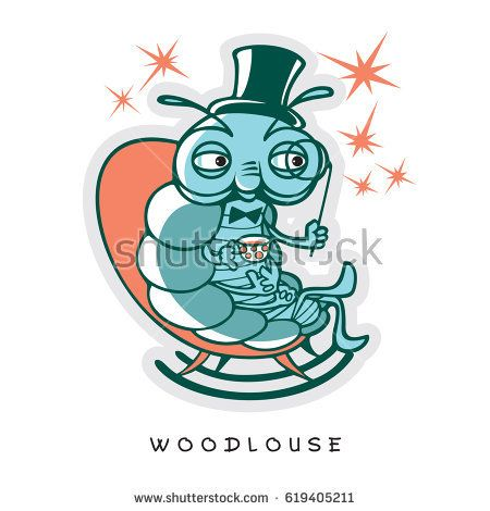 One noble wood louse sit in rocking chair with a hat, a monocle, a cup of tea and a few stars. Vector illustration of funny insect in a cartoon style.  Image in turquoise and orange colors.