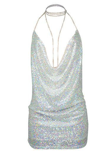 Sequin Embellished Silver Open Back Mini Dress on sale only US$27.32 now, buy cheap Sequin Embellished Silver Open Back Mini Dress at lulugal.com