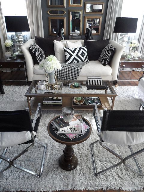 Black and white living room styling