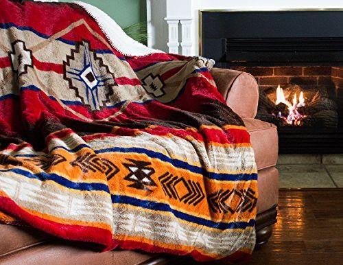 """Cozy Fleece Oversized Southwestern Throw with Reverse Sherpa, 60 x 80"""", Warm"""