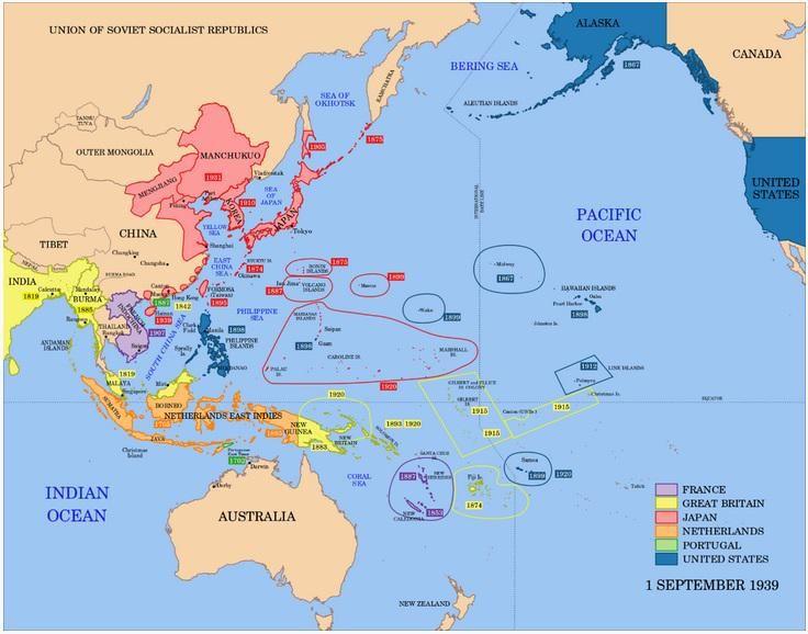 Así era el mapa político de Asia-Pacífico el 1 de septiembre de 1939, cuando empezó la Segunda Guerra Mundial