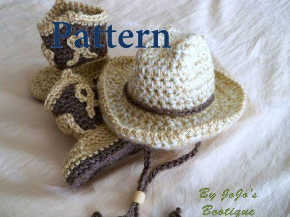 PATRONS PDF bébé chapeau de Cowboy et bottes - bottes et chapeau de Cowboy Baby Set - Ouest chapeau et bottes modèle - Instant Download-par JoJosBootique